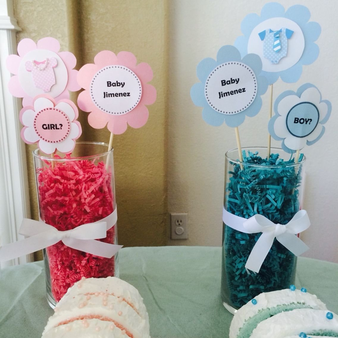 diy centerpieces for gender reveal party | gender reveal party ideas