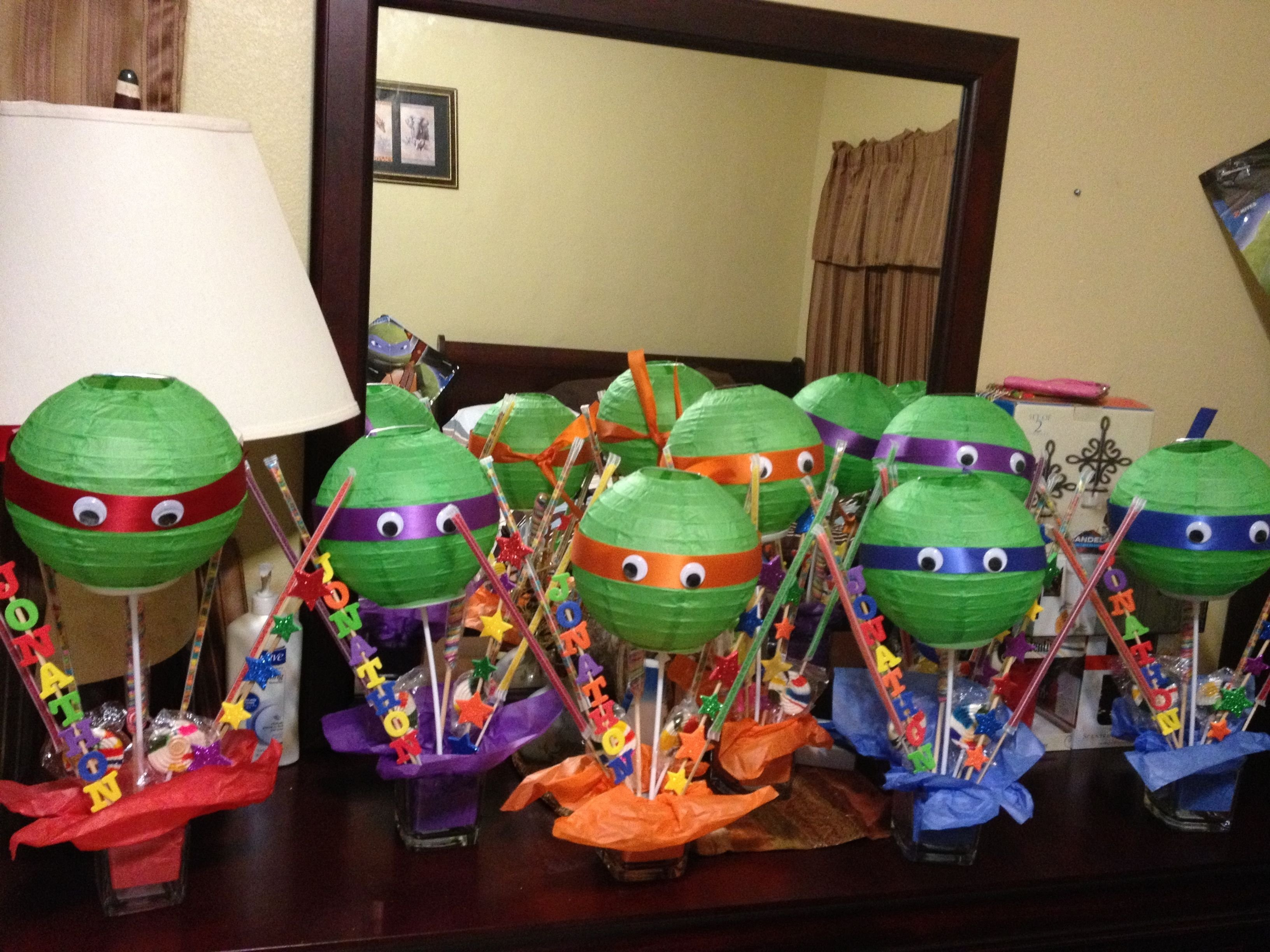 diy centerpieces for ninja turtle party | birthday parties