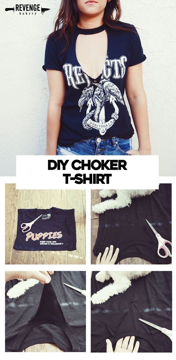 10 Nice Diy T Shirt Cutting Ideas diy choker cutout t shirt choker summer and diy clothes 2 2021