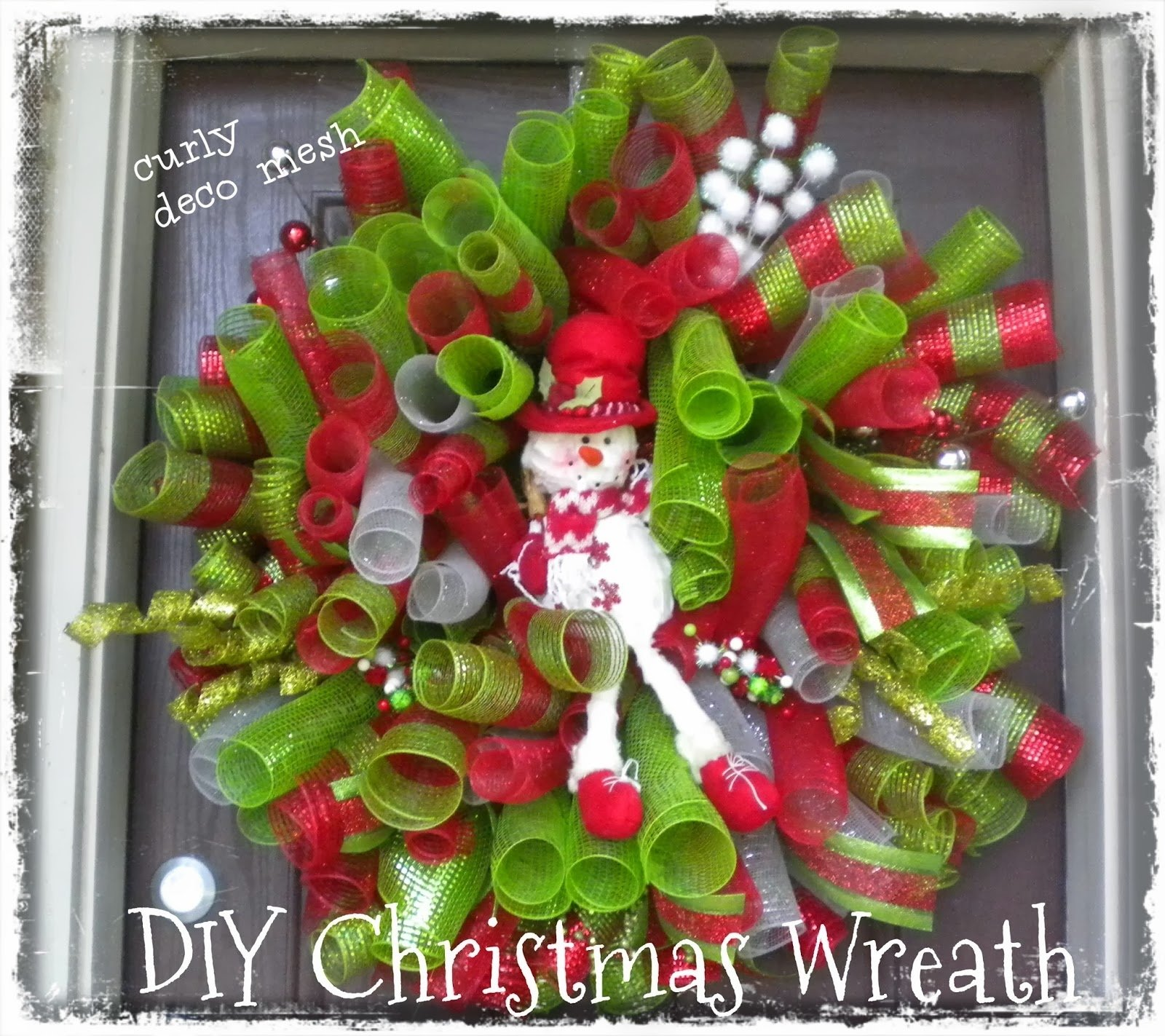 diy christmas deco mesh curly snowman wreath 2013