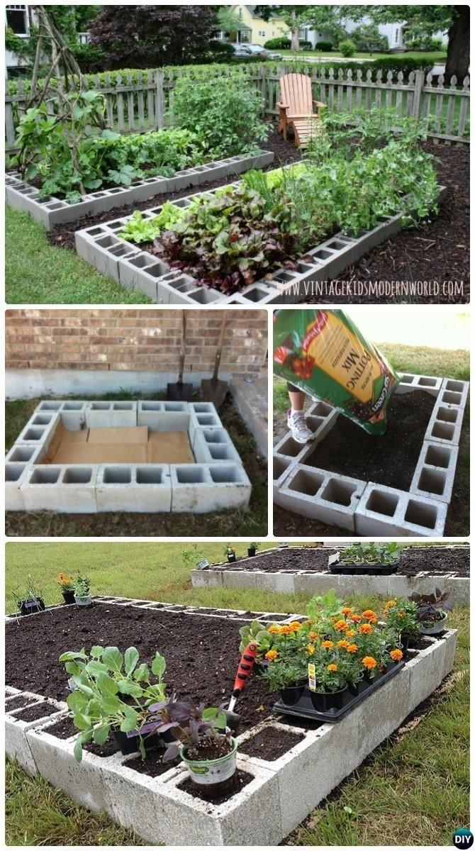 diy cinder block raised garden bed-20 diy raised garden bed ideas
