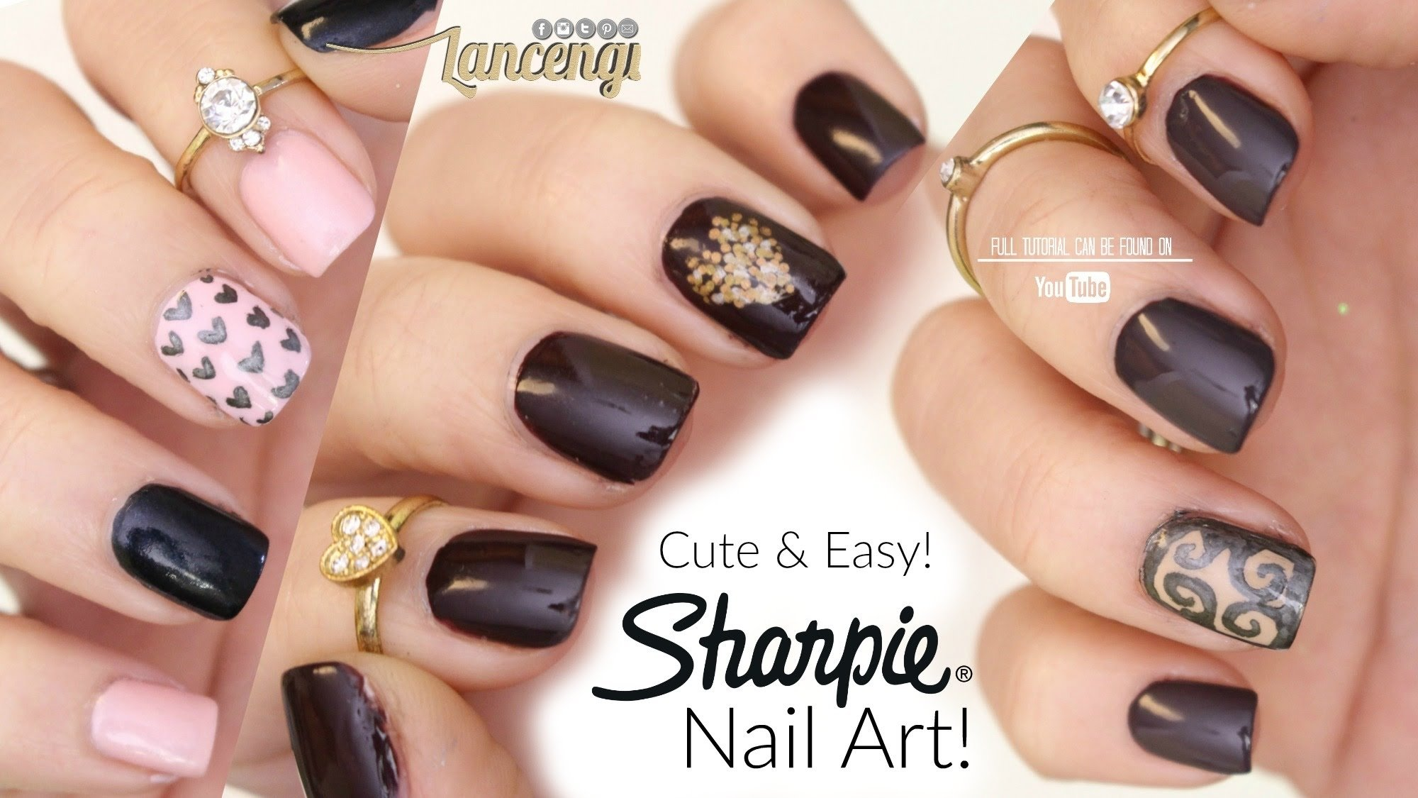 diy cute & easy nail art for beginners - sharpie nail designs #40