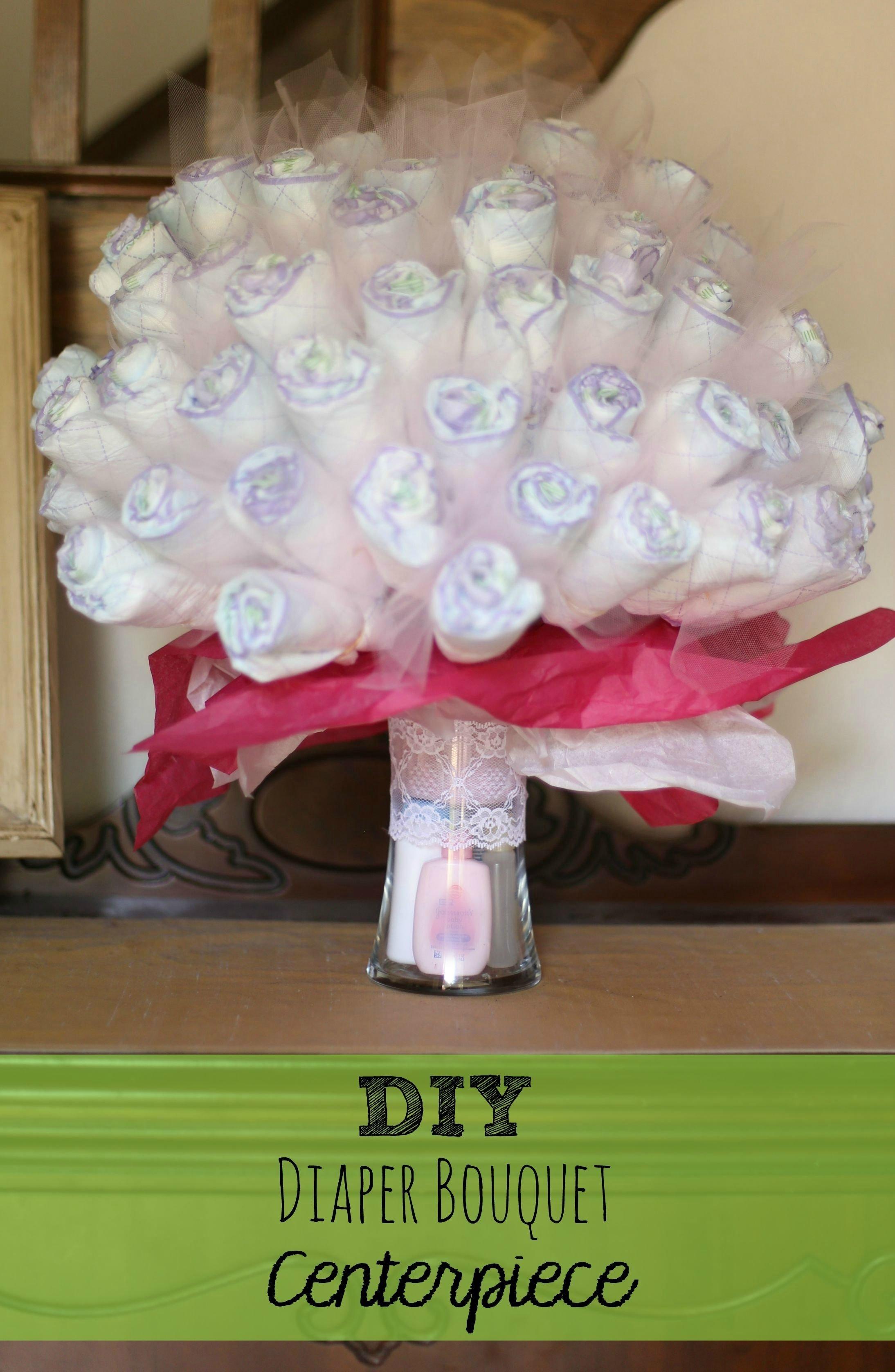 10 Pretty Diaper Ideas For Baby Shower diy diaper bouquet centerpiece perfect baby shower gift idea 2020