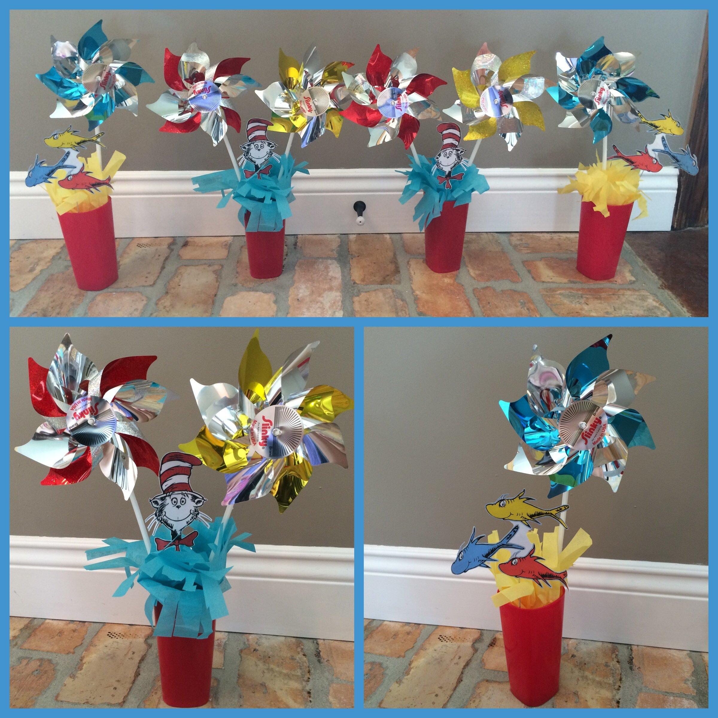 diy dr. seuss birthday party cake table decorations using pinwheels