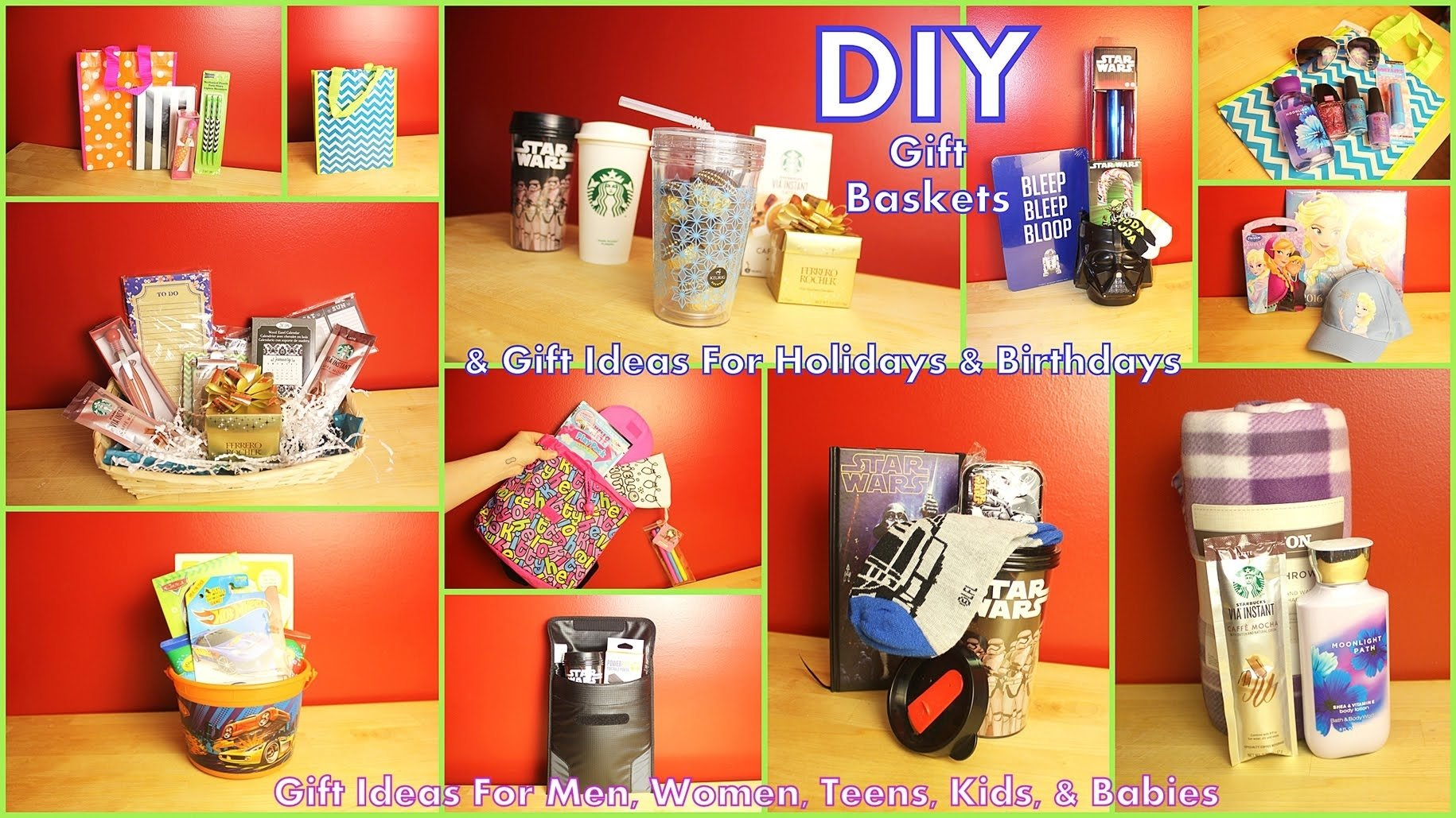 diy gift baskets & gift ideas - how to assemble - for men women kids