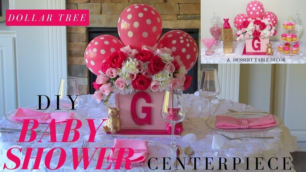 diy girl baby shower ideas | dollar tree baby shower centerpiece