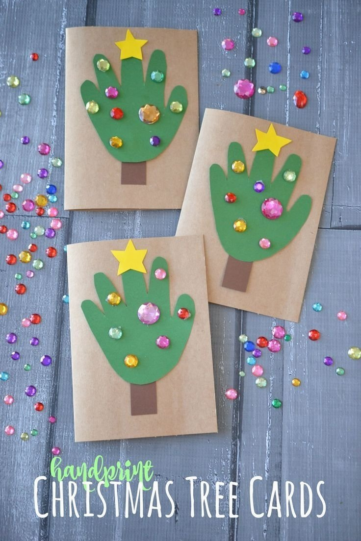 10 Ideal Christmas Ideas For Kids To Make diy handprint christmas tree cards handprint christmas tree