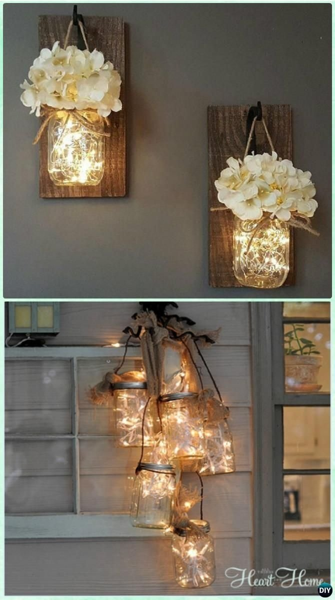 diy hanging mason jar string lights instruction - diy #christmas