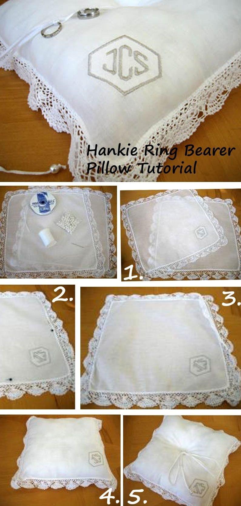 10 Beautiful Ring Bearer Ideas Alternatives To Pillow diy hankie ring bearer pillow made out of handkerchiefs hottest 2020