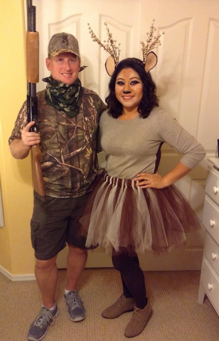 10 Cute Cheap Costume Ideas For Couples diy hunter deer halloween costume for couples easy last minute 4 2020