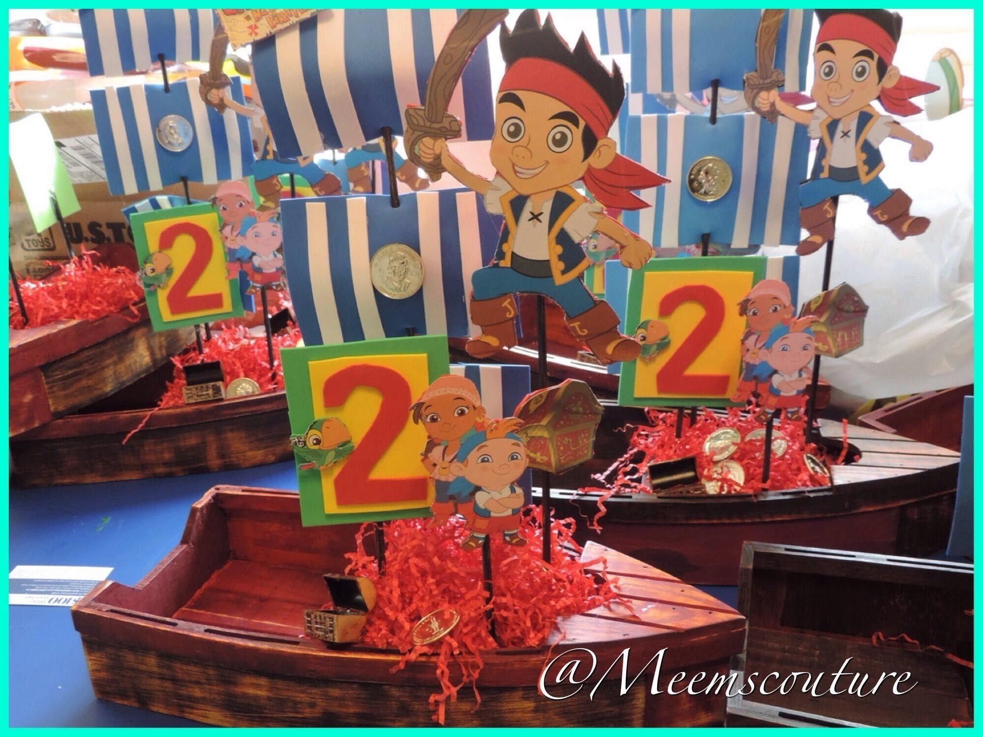 diy jake and the neverland pirates party center pieces - youtube