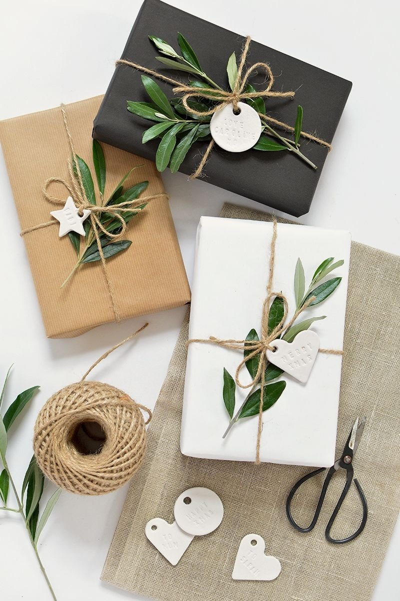 10 Stylish Gift Wrapping Ideas For Him diy minimal clay gift tags clay gift and wraps 2020