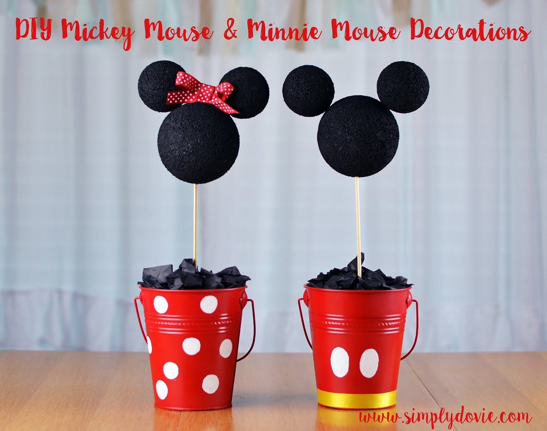 diy minnie & mickey birthday decorations with simply dovie - youtube