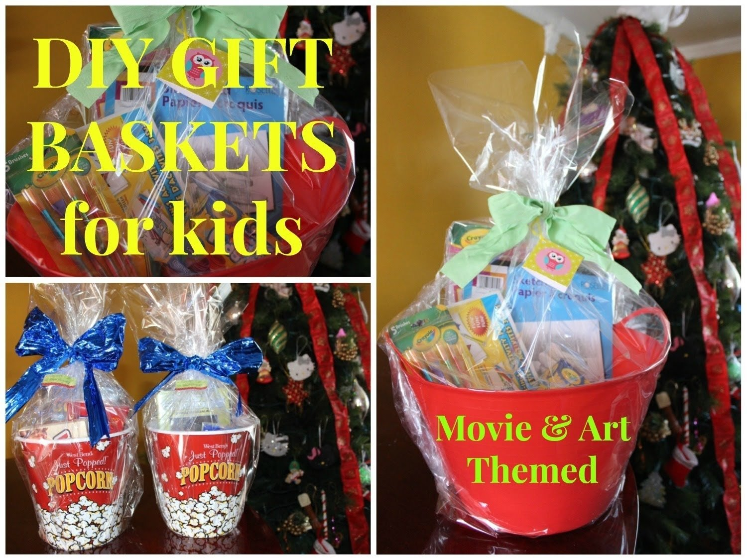 diy movie & art themed gift baskets for kids - budget friendly - youtube