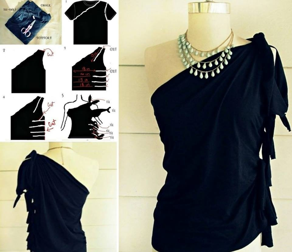 10 Nice Diy T Shirt Cutting Ideas diy no sew one shoulder top from t shirt 2021