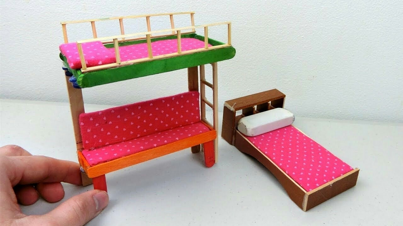 10 Spectacular Craft Ideas With Popsicle Sticks diy popsicle stick bunk bed easy craft ideas popsicle stick 2021