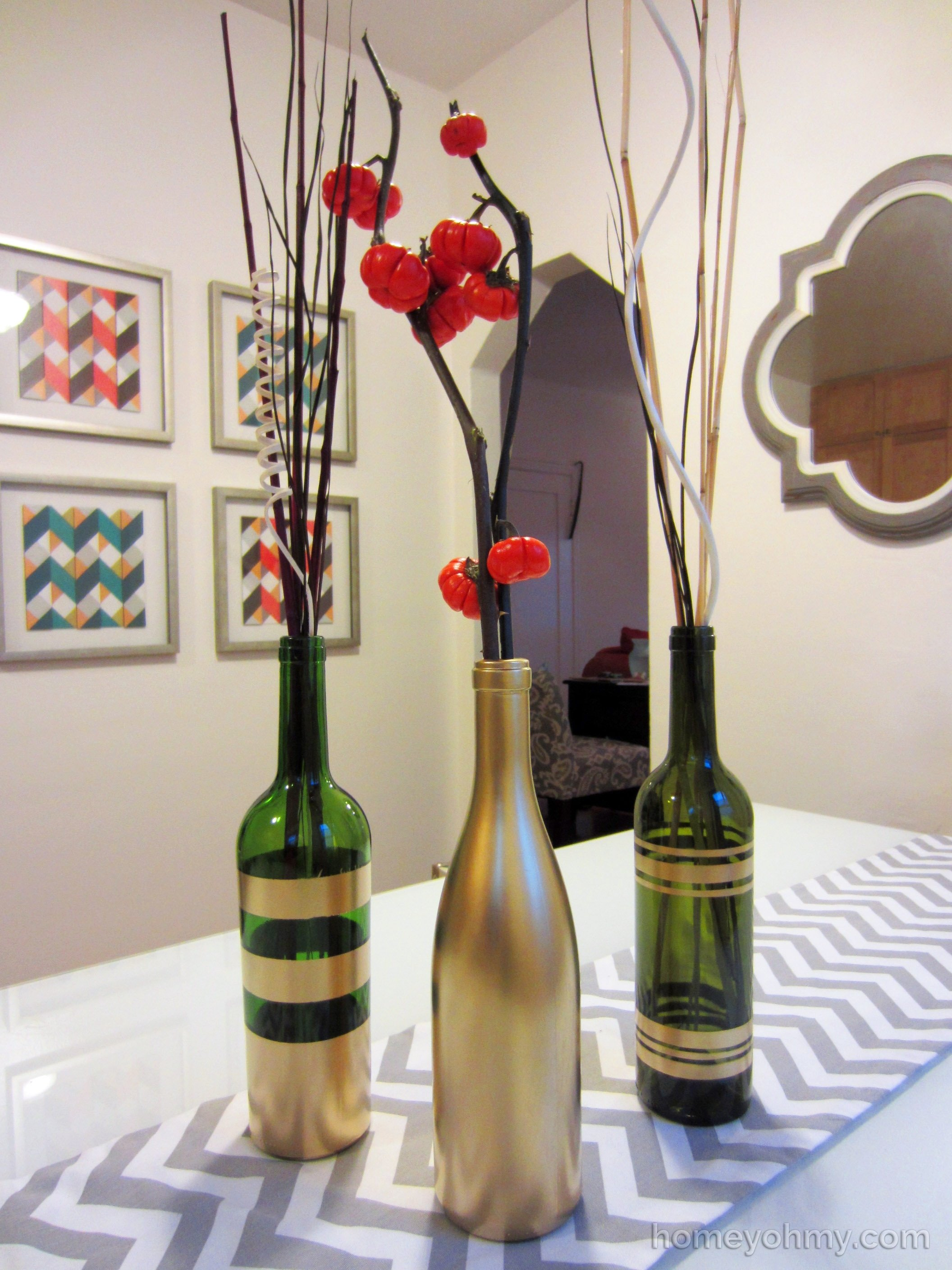10 Most Popular Craft Ideas For Wine Bottles diy spray painted wine bottles for fall decorating 2 2020