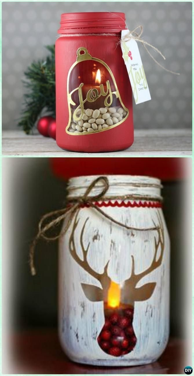 10 Cute Craft Ideas For Christmas Gifts diy stenciled mason jar candle holder christmas lights instruction 3 2021
