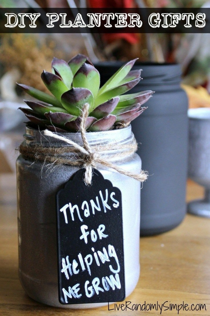 diy succulent mason jar gifts | gift, jar and teacher