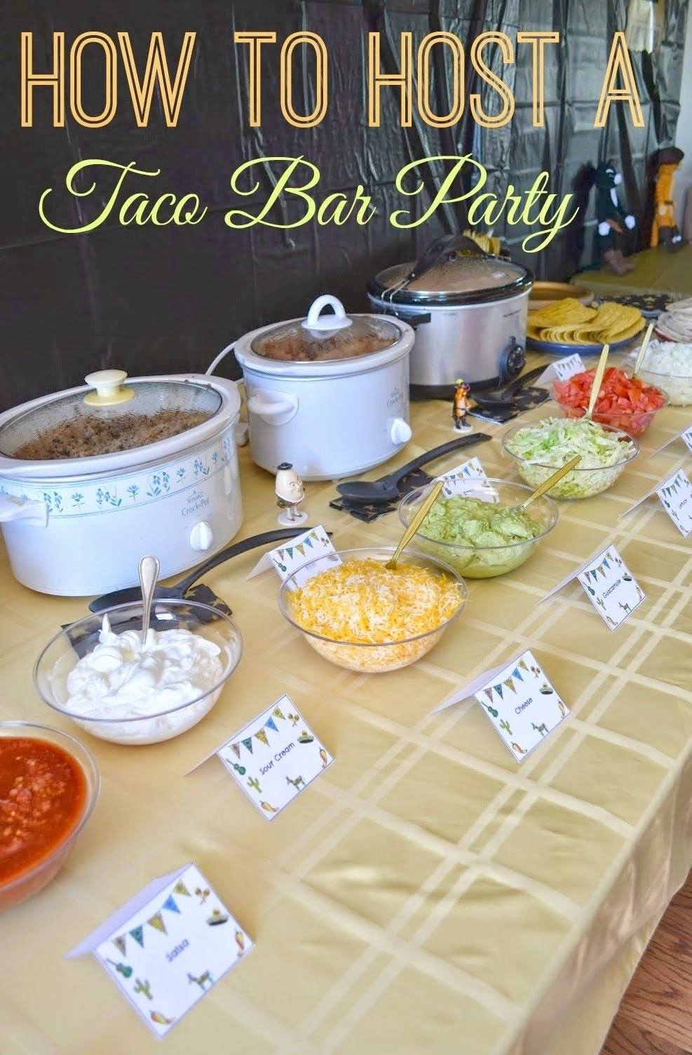 10 Fashionable Food Ideas For Birthday Party diy taco bar party table tents free printables taco bar party 4 2021