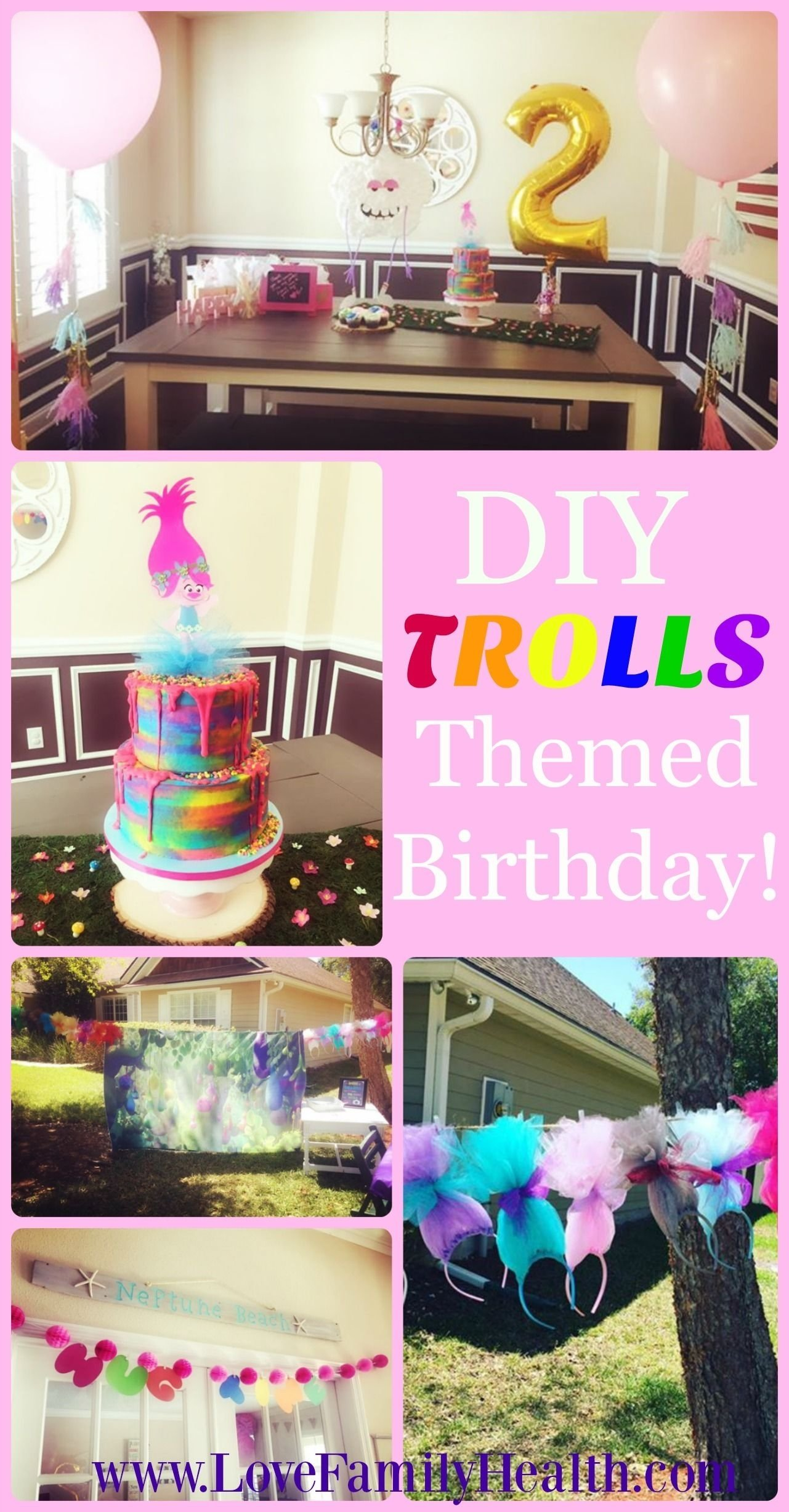 diy trolls themed 2nd birthday | girl birthday, birthday party ideas