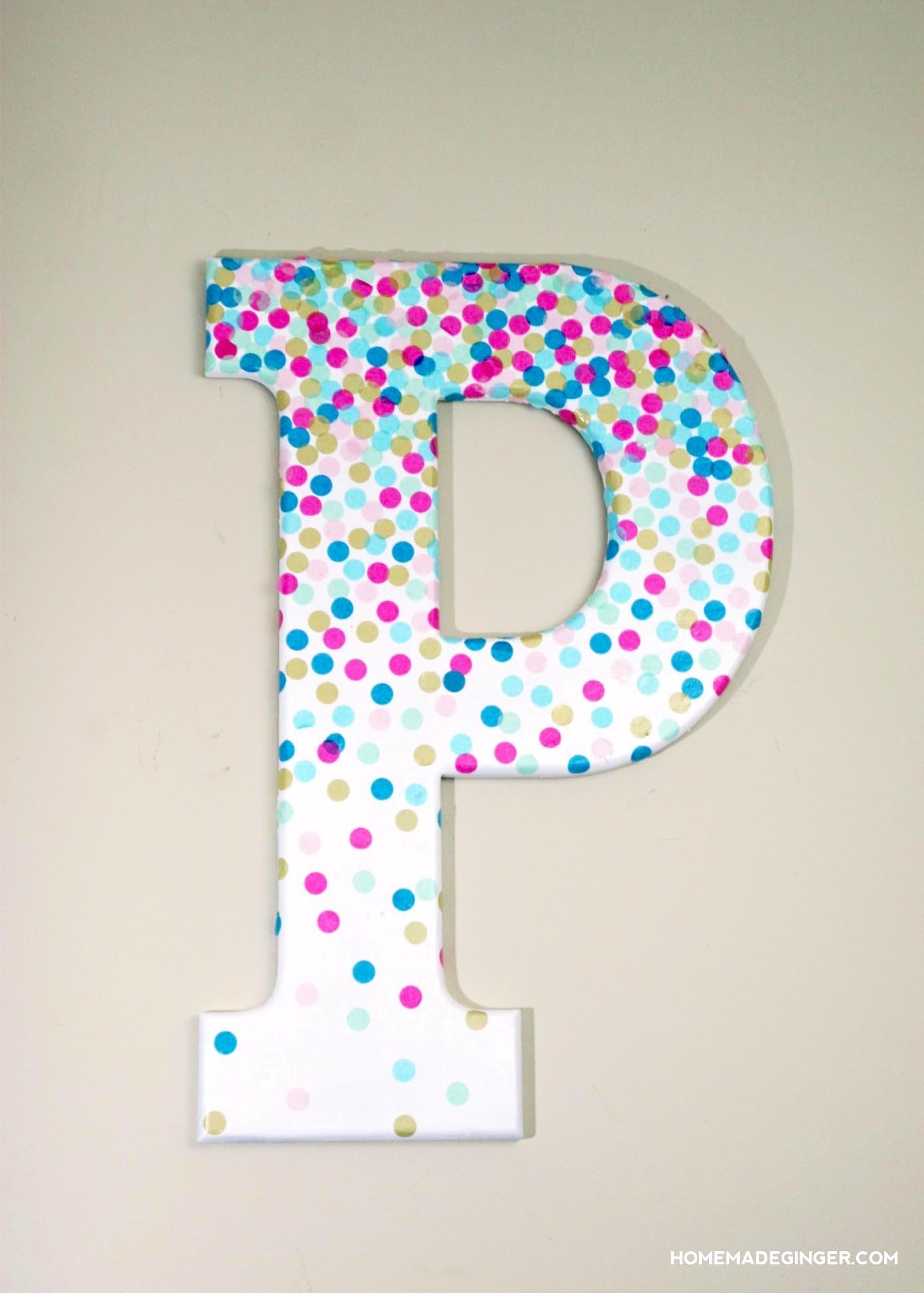 10 Fashionable Ideas For Decorating Wooden Letters diy wall art confetti letter homemade ginger 2020