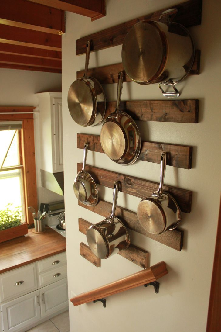 diy: wall-mounted pot rack | dream home | kitchen wall storage, pan