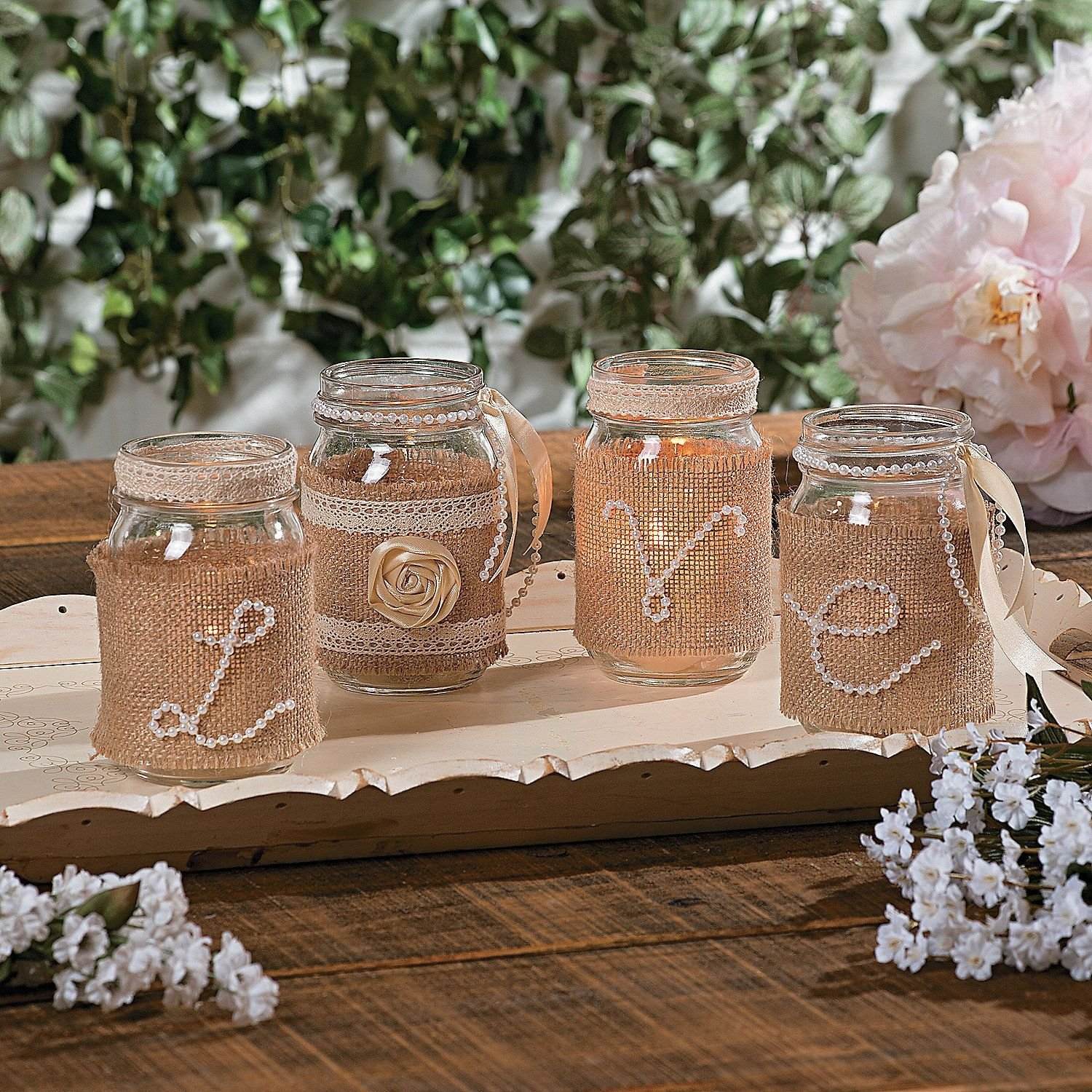 diy-wedding centerpieces, using pearls, burlap, ribbon and mason