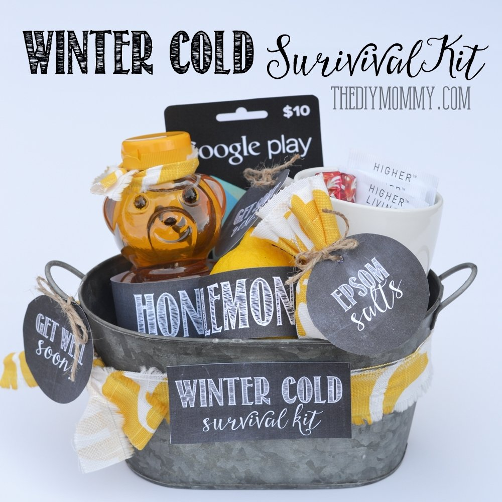 10 Nice Get Well Soon Basket Ideas diy winter cold survival kit a get well soon gift basket idea with 2021