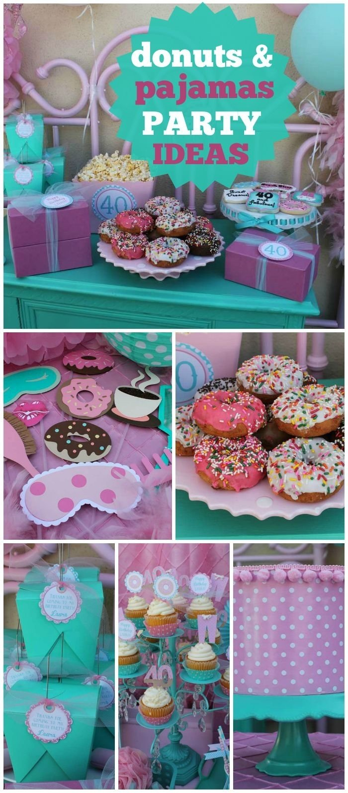 10 Amazing Pajama Party Ideas For Kids donuts pajamas birthday lauras 40th donuts pjs bash 3 2020