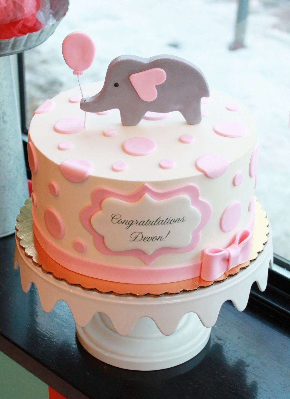 10 Stunning Baby Shower Cake Ideas For A Girl dotty elephant baby shower cake whipped bakeshop baby shower 2021