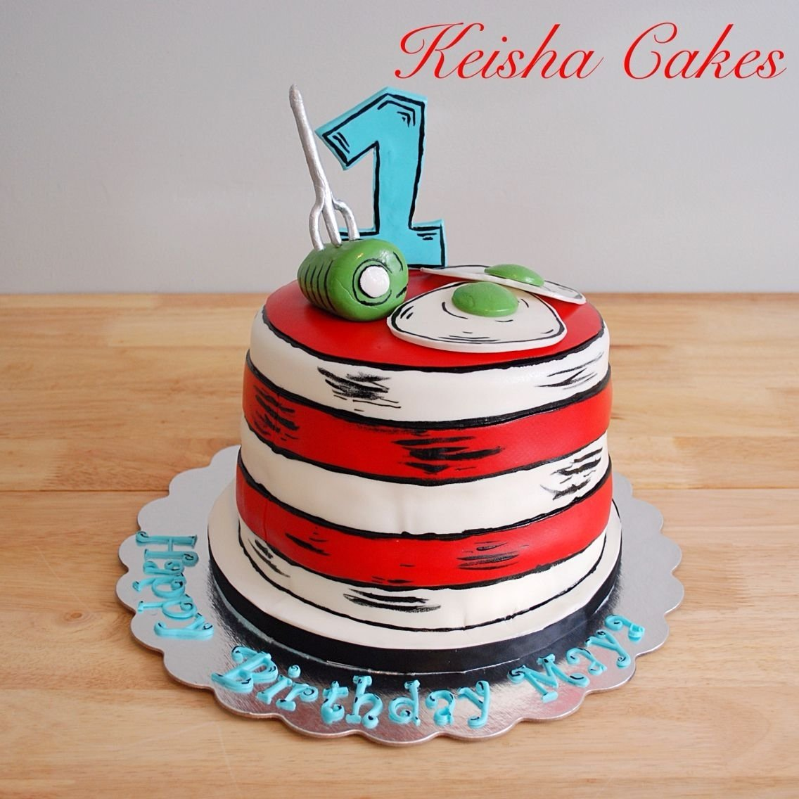 10 Beautiful Dr Seuss First Birthday Party Ideas dr seuss cat in the hat birthday cake green eggs and ham on top of