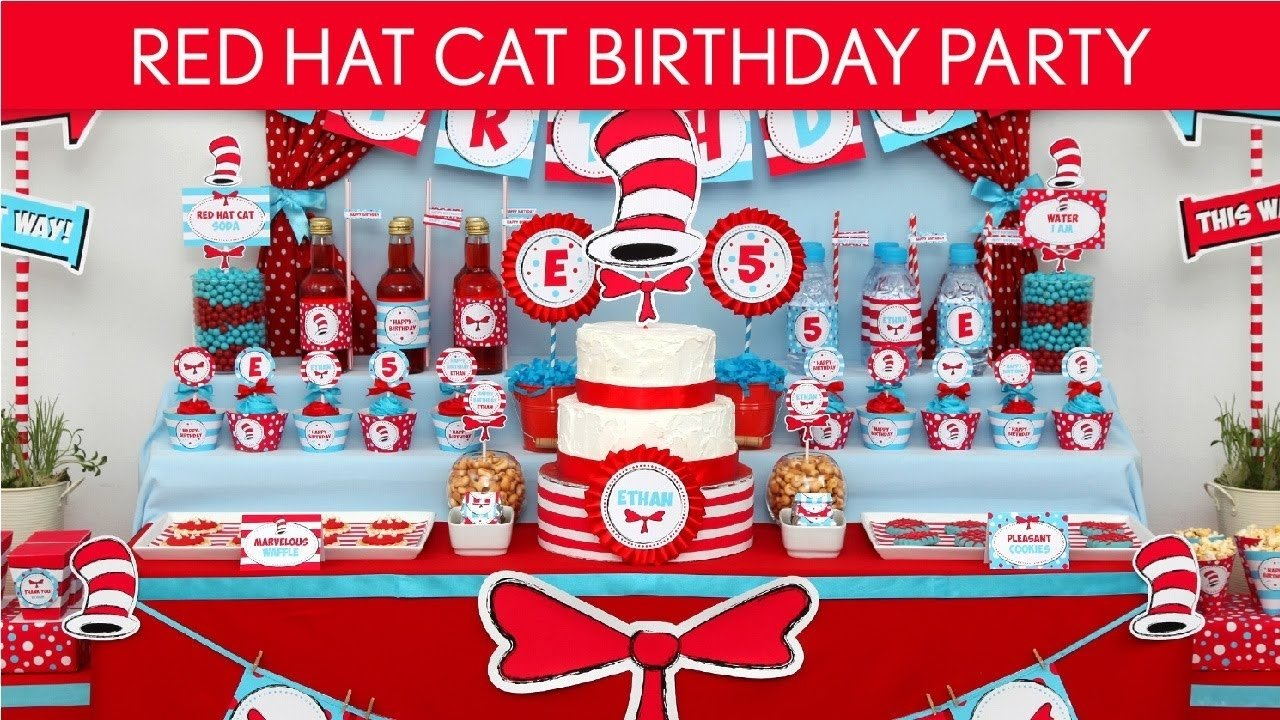 10 Nice Cat In The Hat Birthday Ideas dr seuss cat in the hat birthday party ideas red hat cat b20 1 2020