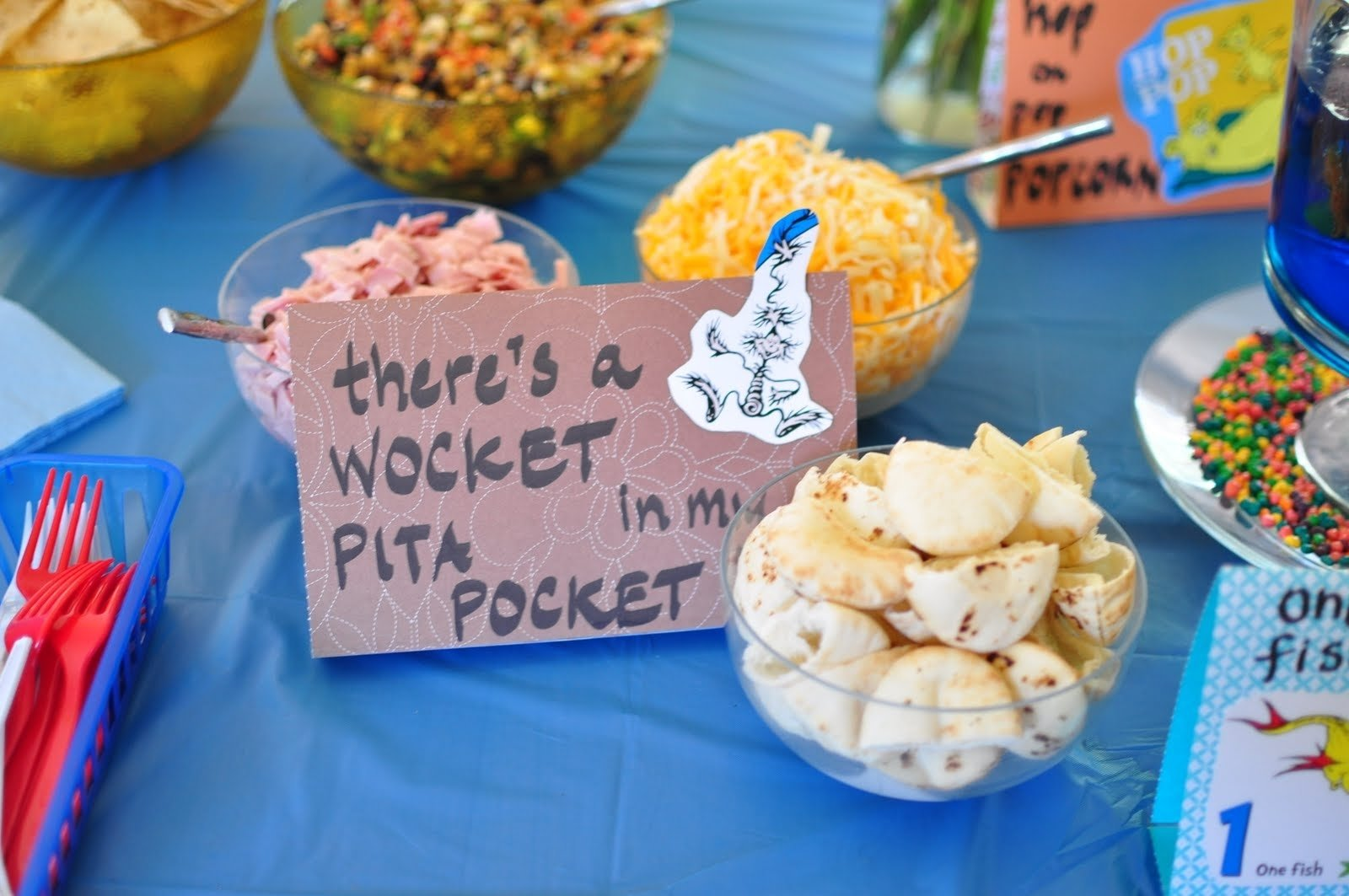dr. seuss themed party - baby shower - serving from home