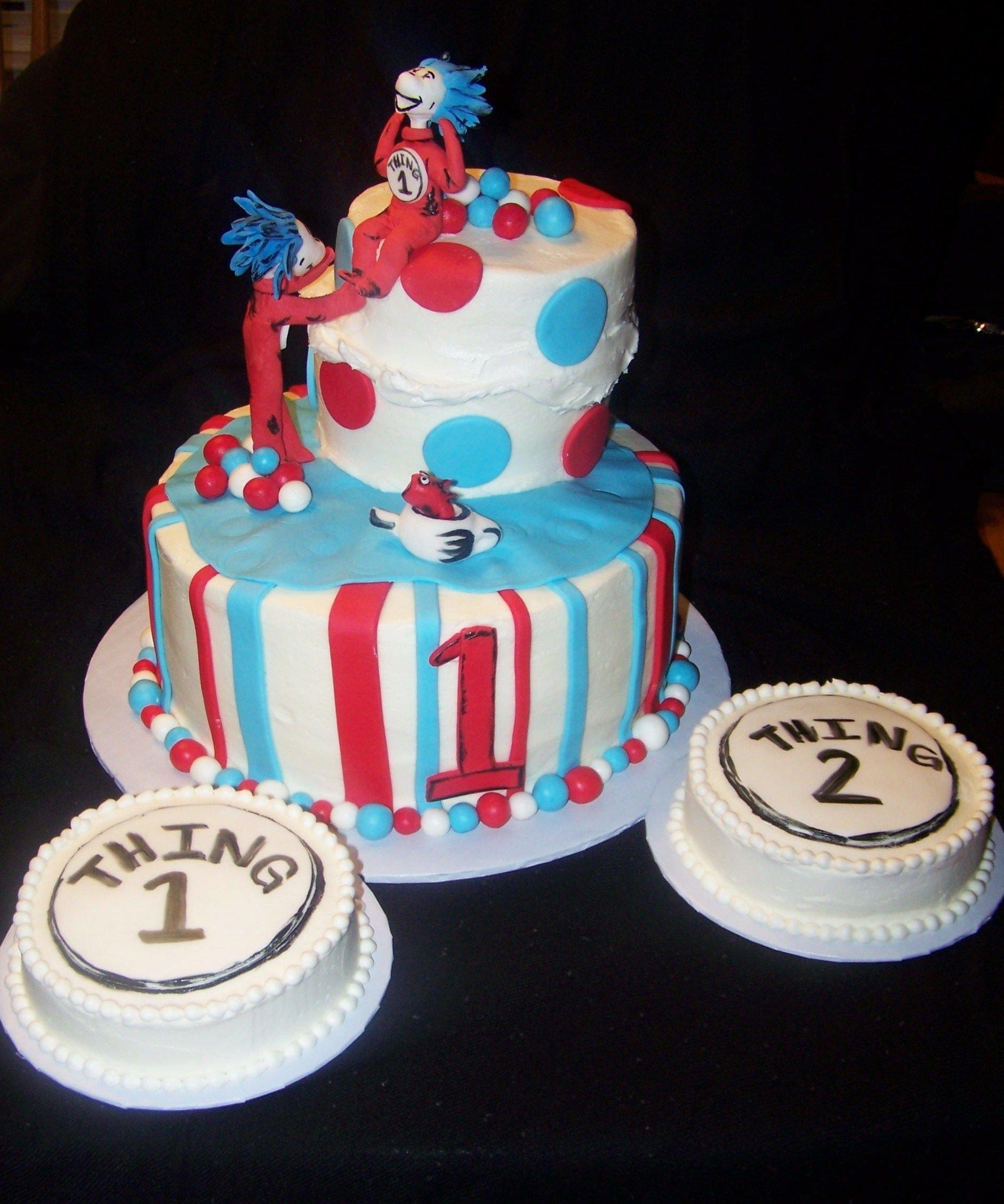 "dr seuss ""thing 1 & thing 2"" birthday cake | birthday cakes"