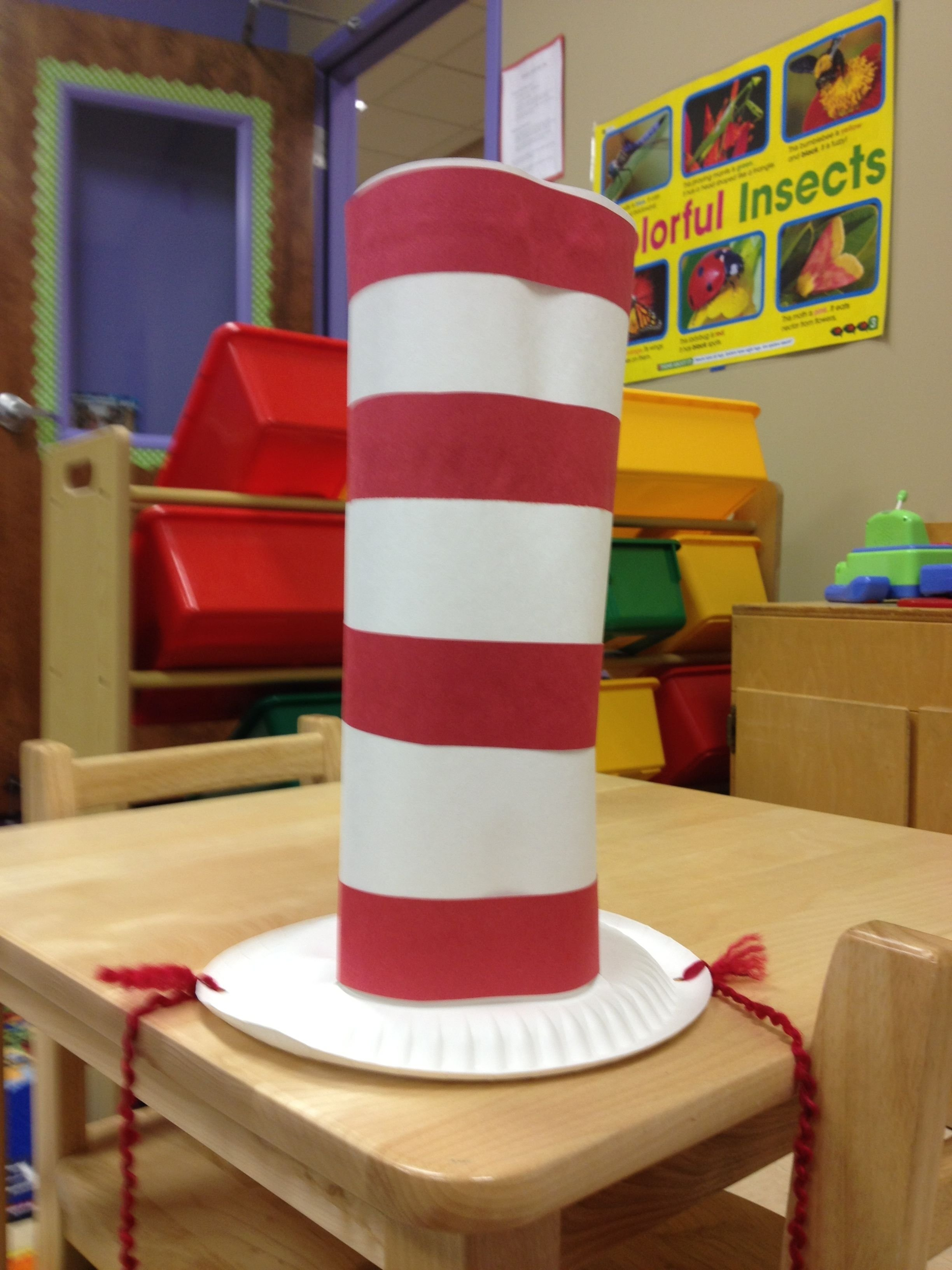 10 Most Popular Cat In The Hat Craft Ideas dr seuss week cat in the hat hat made from paper plate yarn and