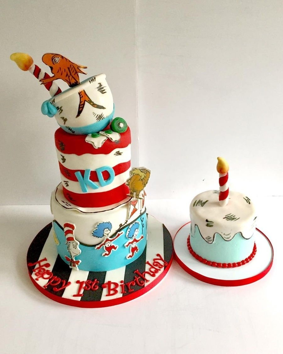 10 Attractive Cat In The Hat Cake Ideas dr suess cat in the hat cake and matching smash cake cakecentral