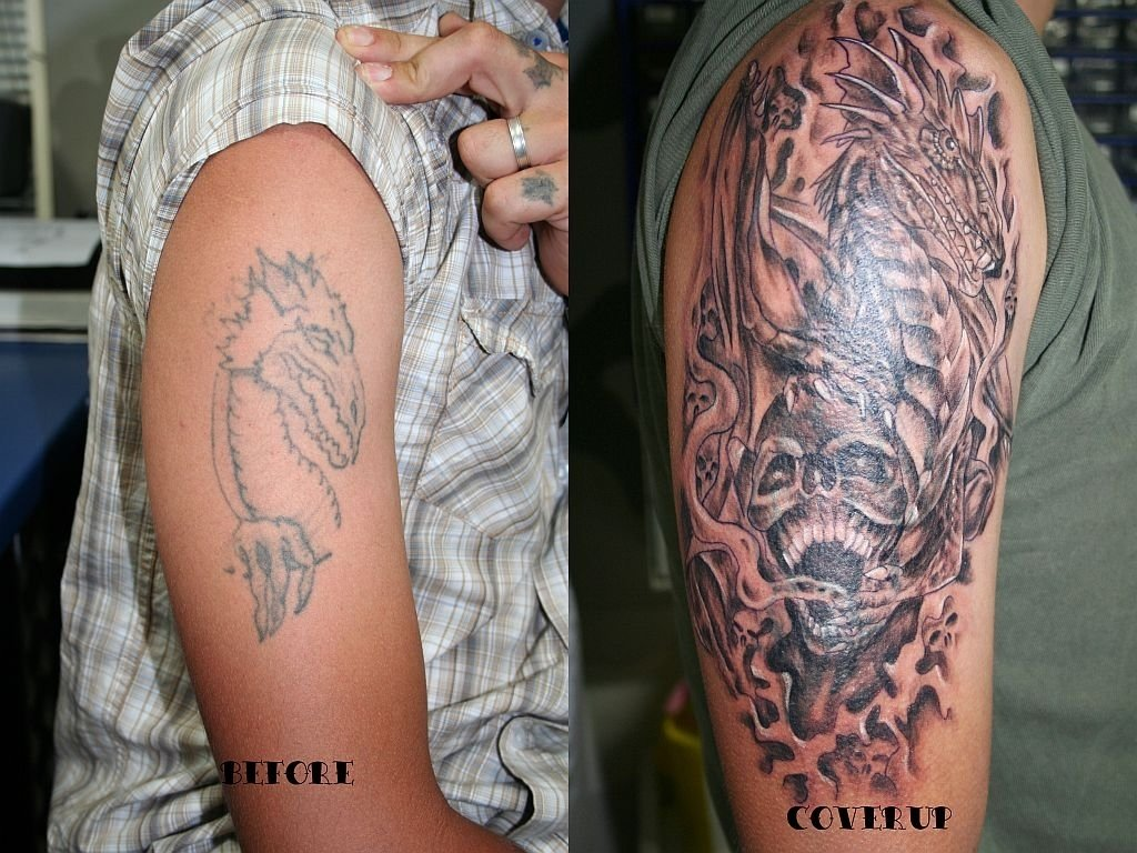 10 Unique Tattoo Cover Up Ideas For Work dragon skull cover up tattoo2face tattoo on deviantart 2020