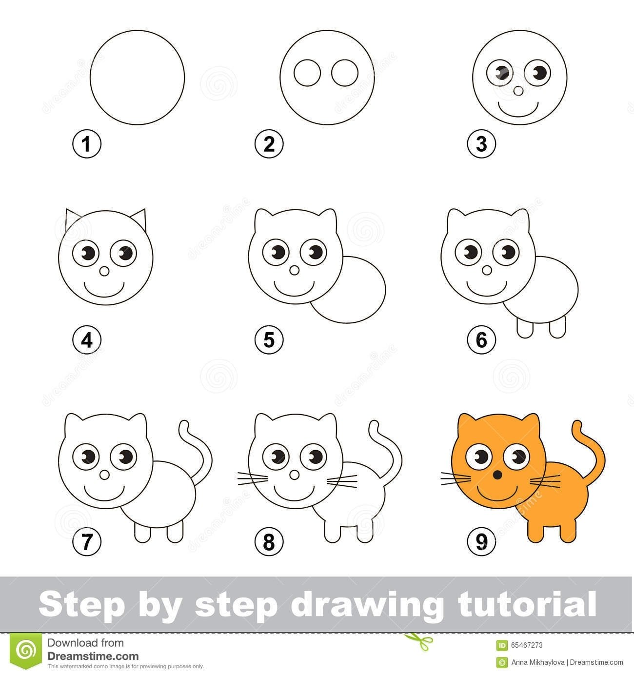 10 Elegant Drawing Ideas For Kids Step By Step drawing tutorial how to draw a small kitten stock vector 2021