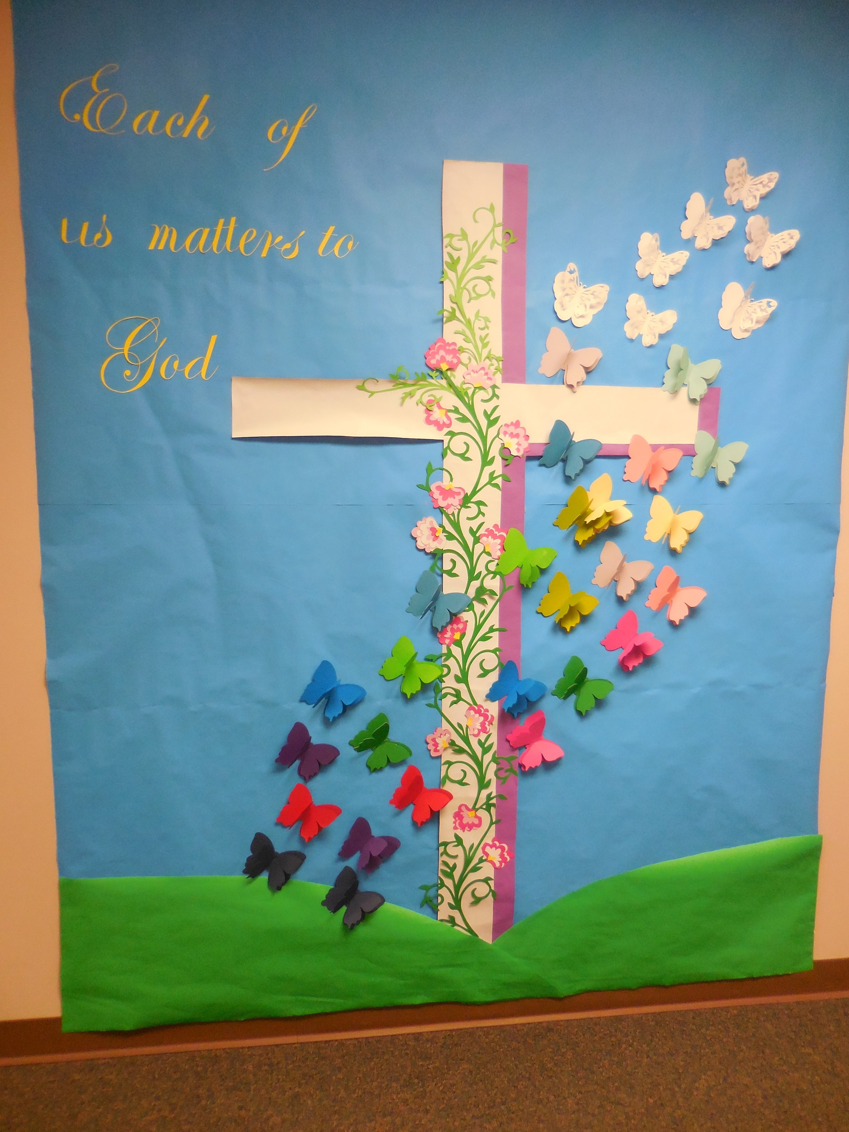 10 Most Recommended Easter Bulletin Board Ideas For Church each of us matters to god april easter resurrection cross 2020