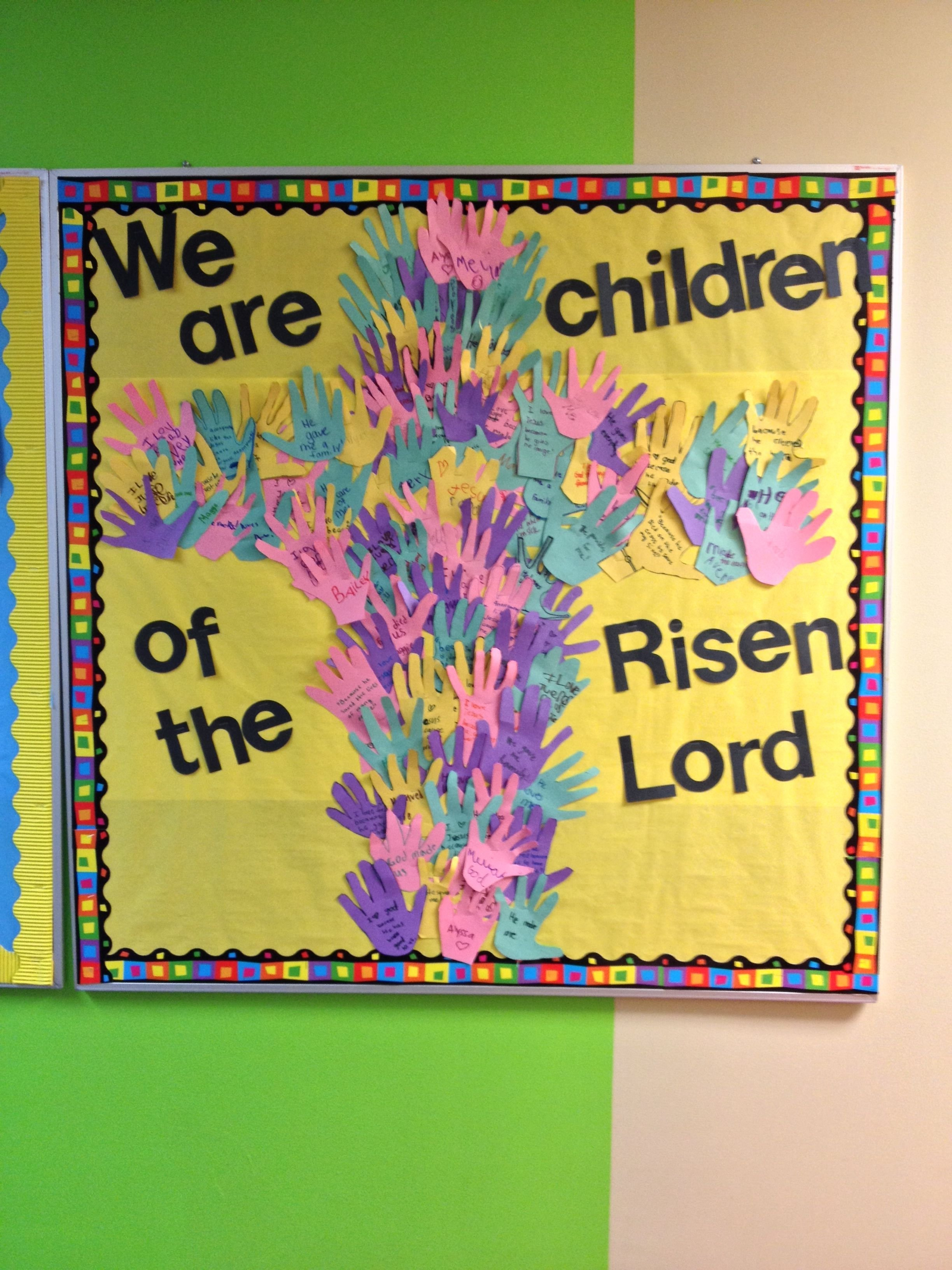 10 Most Recommended Easter Bulletin Board Ideas For Church easter bulletin board kids handprints in shape of the cross on 2020