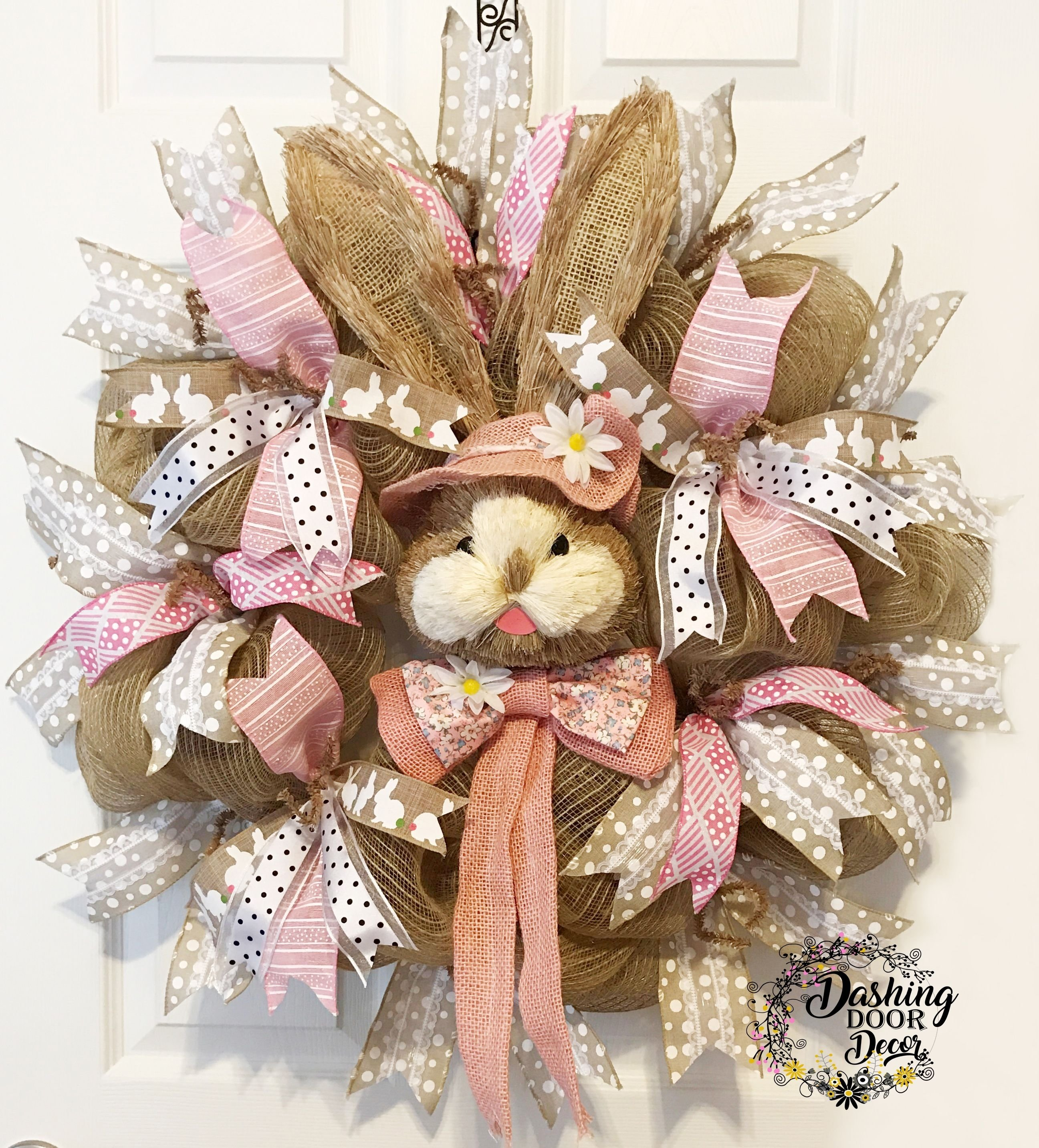 10 Cute Easter Deco Mesh Wreath Ideas easter bunny bonnet burlap deco mesh wreath spring 66 most