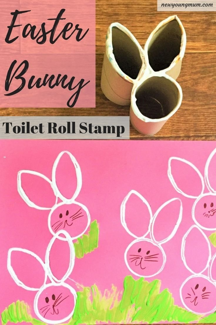 10 Stylish Easter Craft Ideas For Toddlers easter bunny craft homemade toilet roll stamp bunny crafts 1 2020
