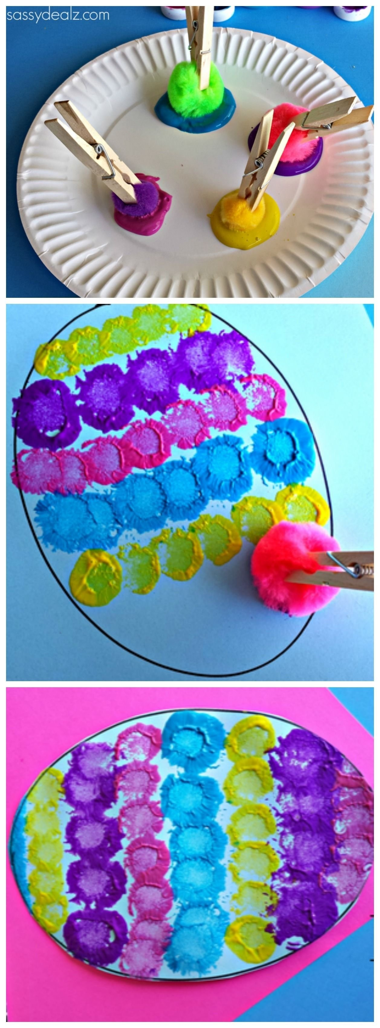 10 Stylish Easter Craft Ideas For Toddlers easter craft for kids using pom poms clothespins and paint you 2
