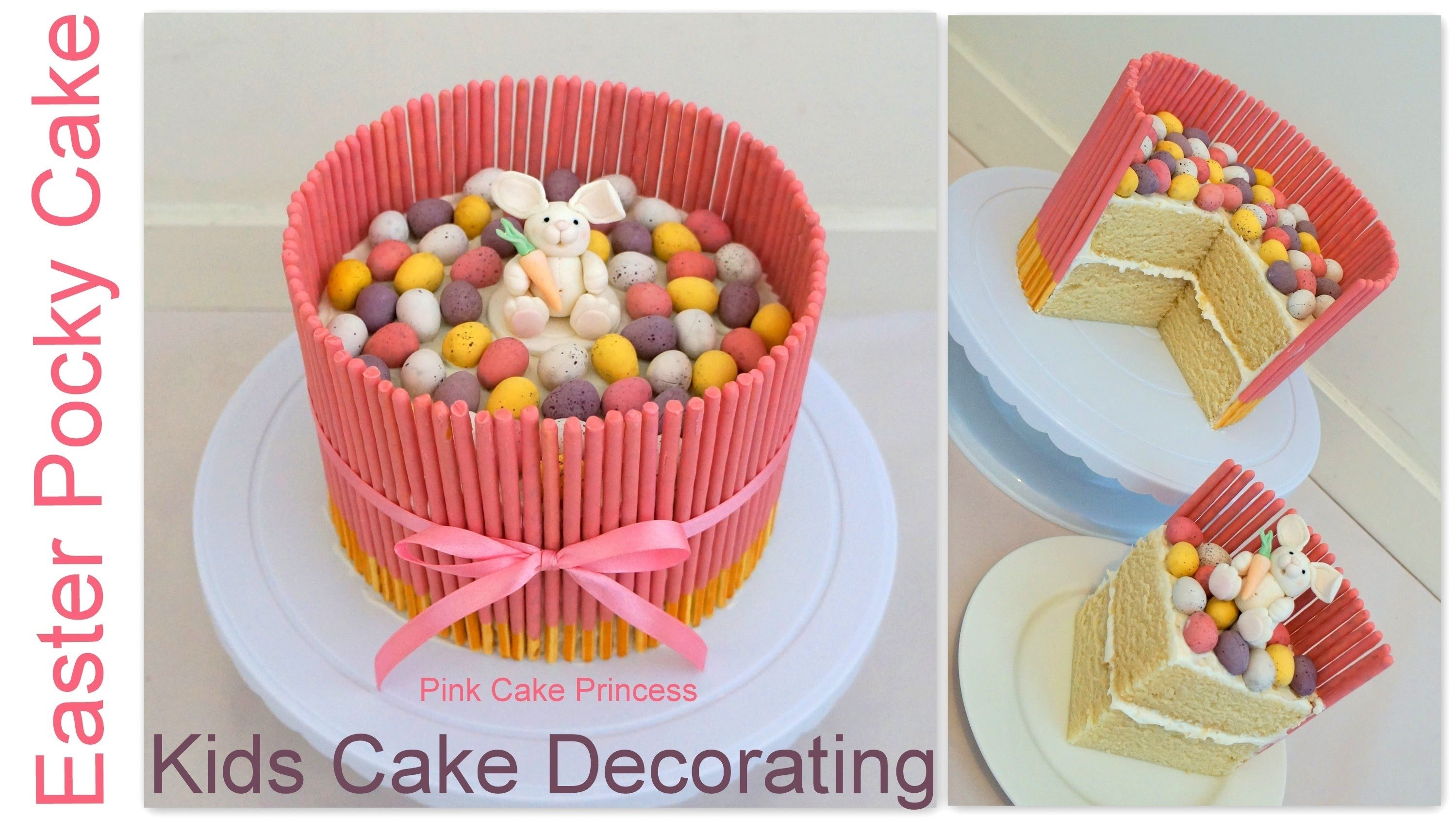 easter pocky cake - easy kids cake decorating how to - youtube