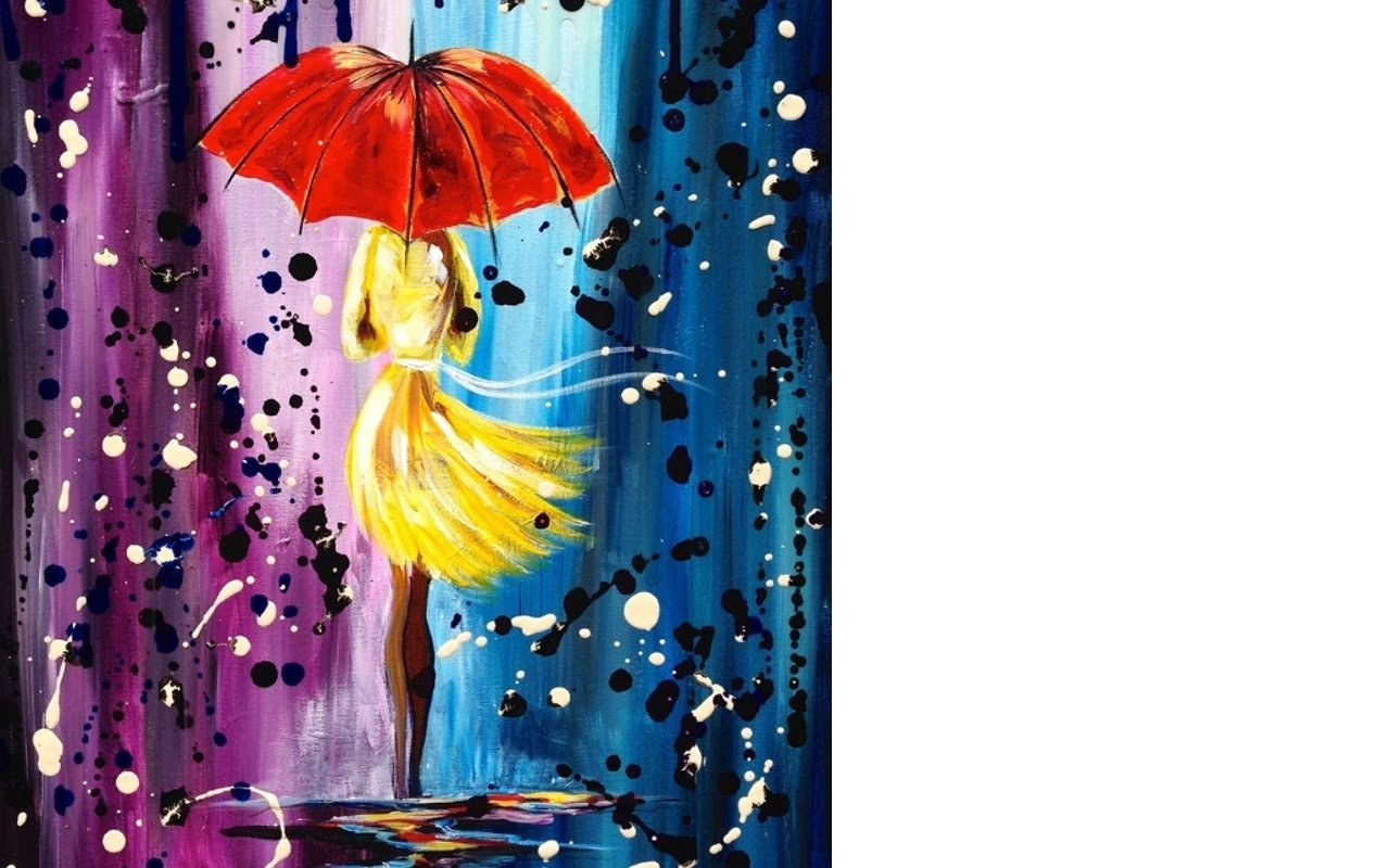 10 Fabulous Acrylic Painting Ideas For Beginners easy acrylic painting lesson city walk girl in the rain umbrella 2020