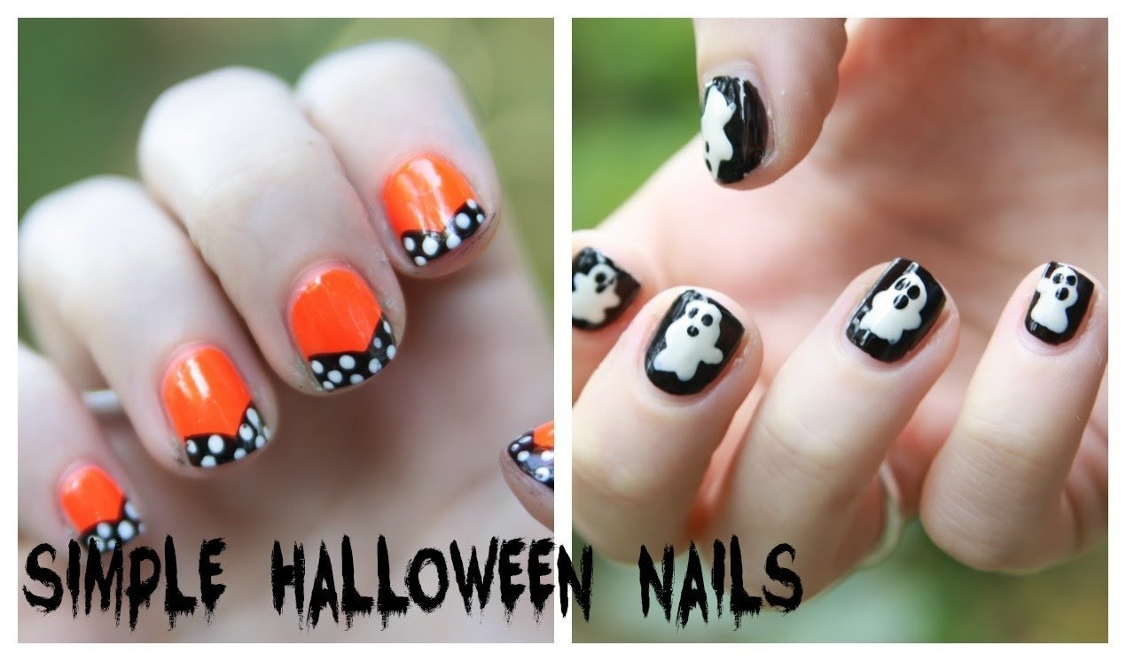 10 Lovable Easy Halloween Nail Art Ideas easy halloween nail art designs no nail art tools needed youtube 2020