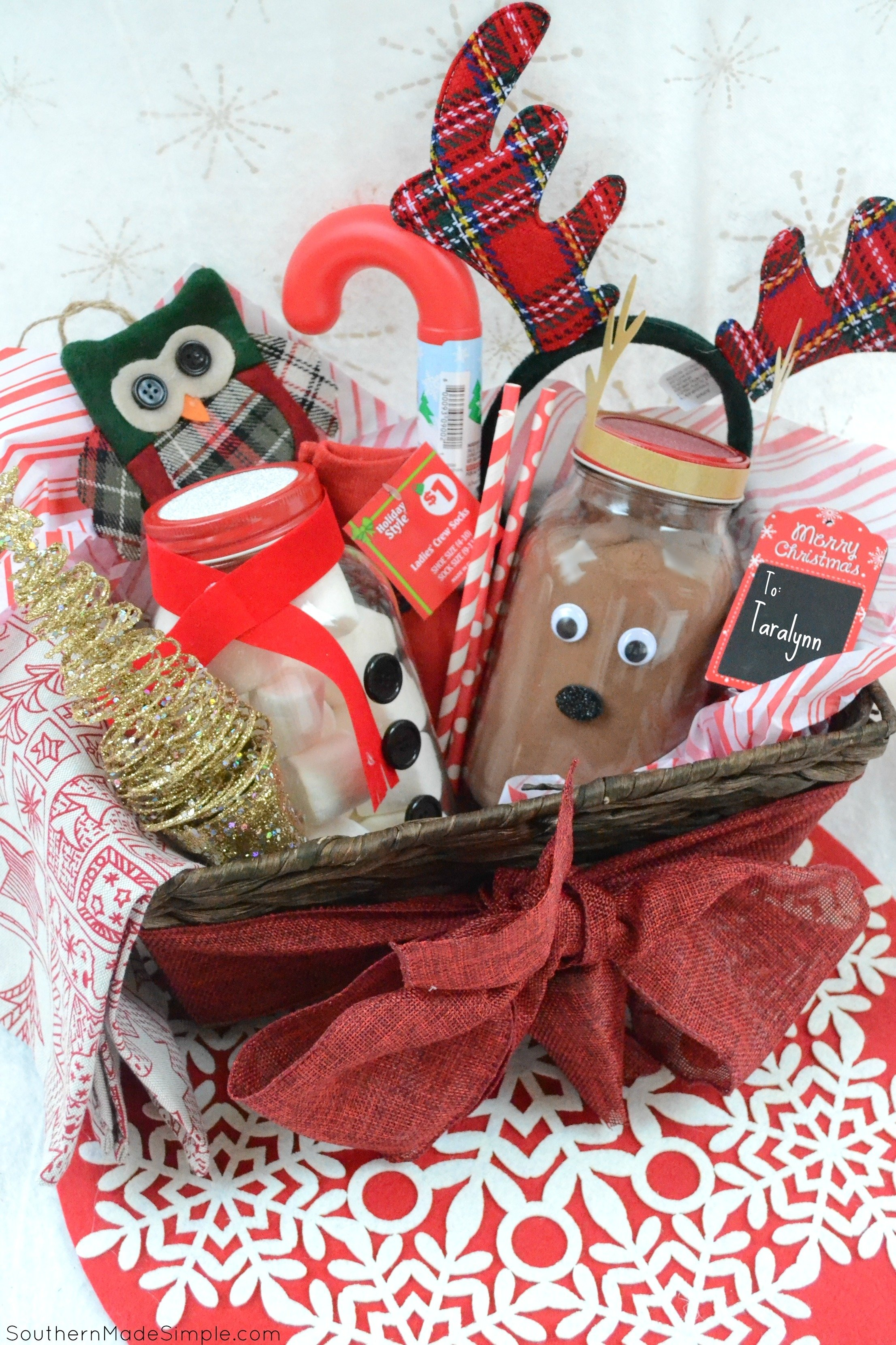 10 Great Homemade Holiday Gift Basket Ideas easy holiday gift idea diy hot cocoa gift basket southern made simple