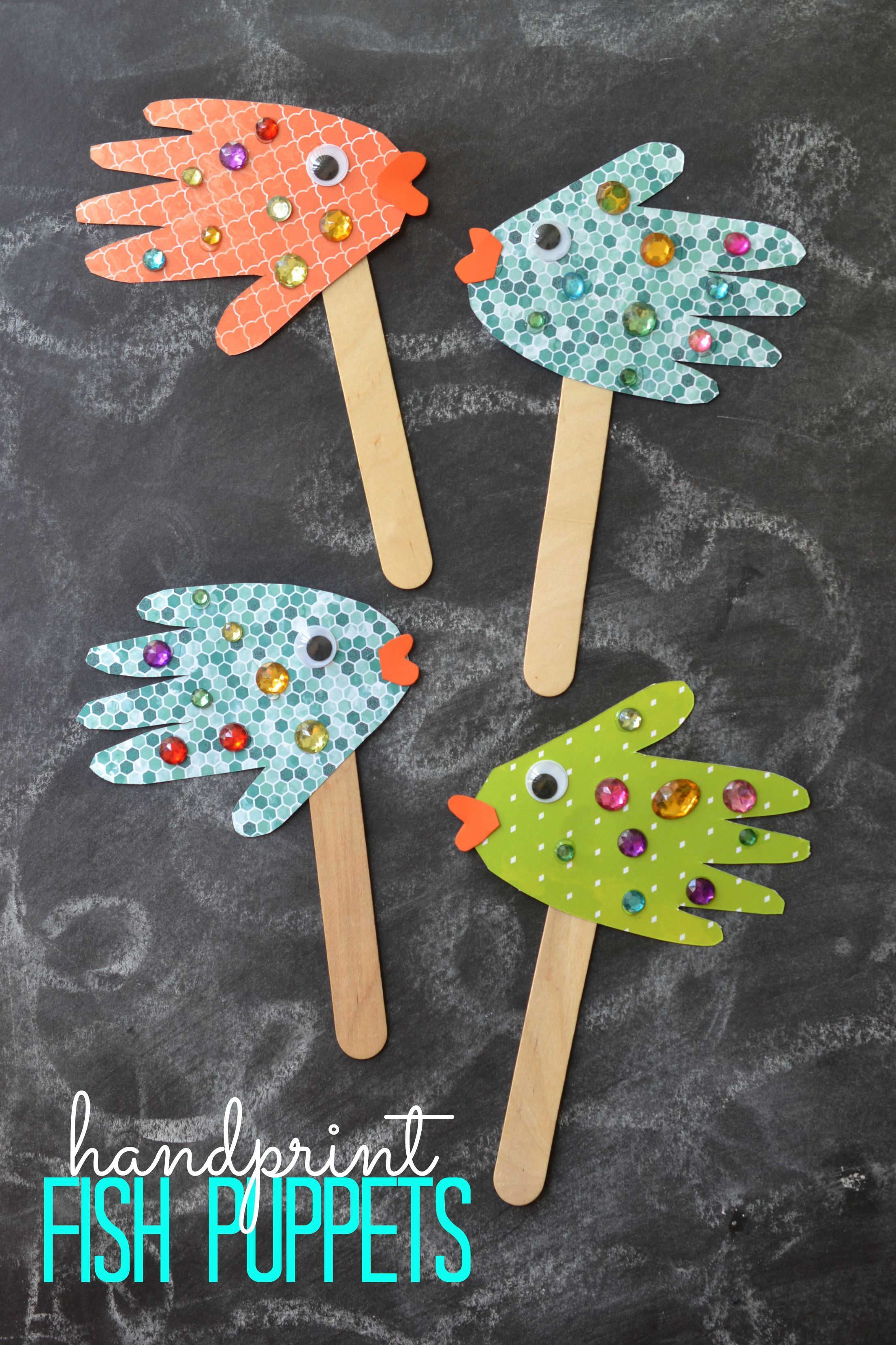 10 Unique Ideas For Crafts For Kids easy kids craft handprint fish puppets slp bulletin board and