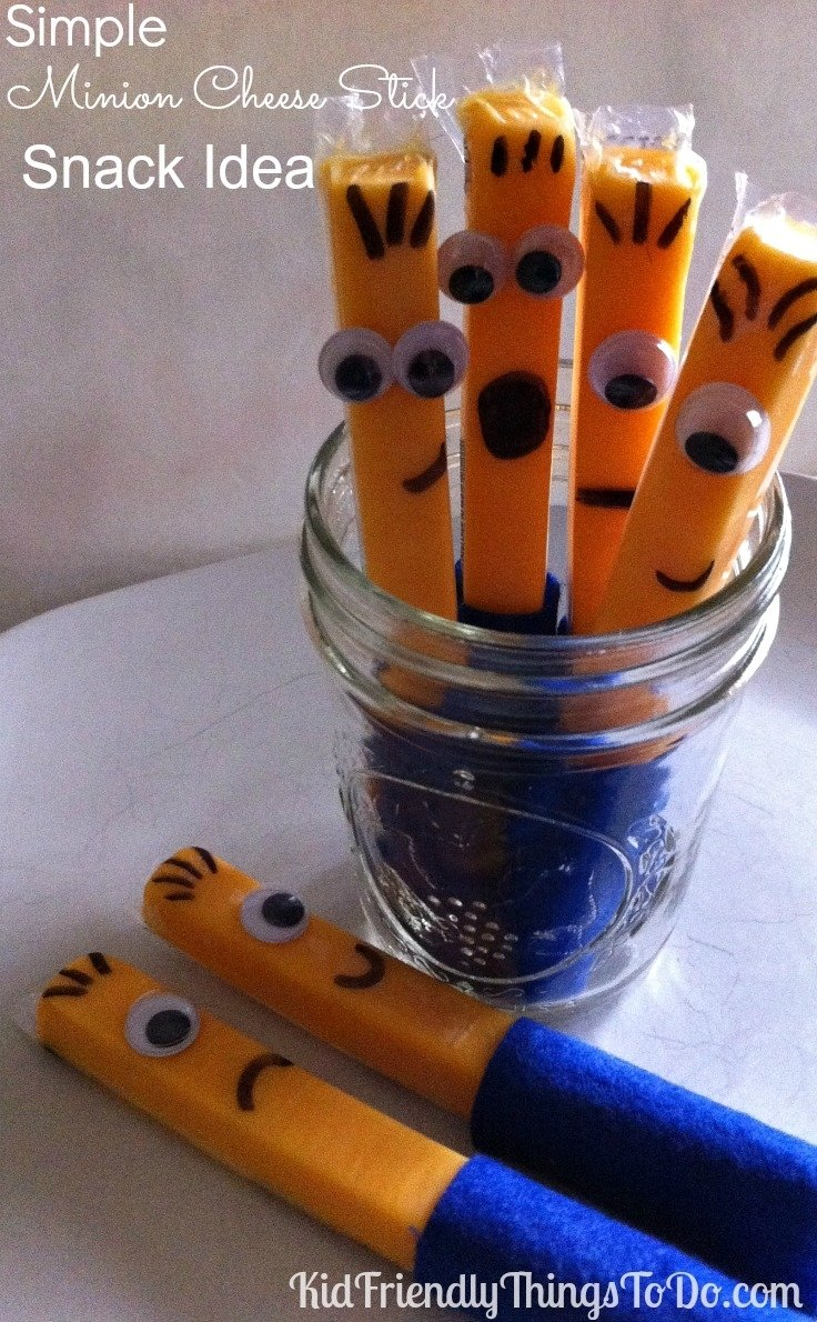 10 Stylish Despicable Me Party Food Ideas easy minion cheese stick snack idea
